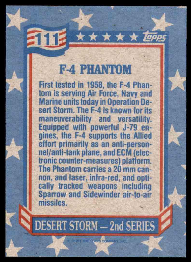 1991 Desert Storm Topps F-4 Phantom #111 card back image