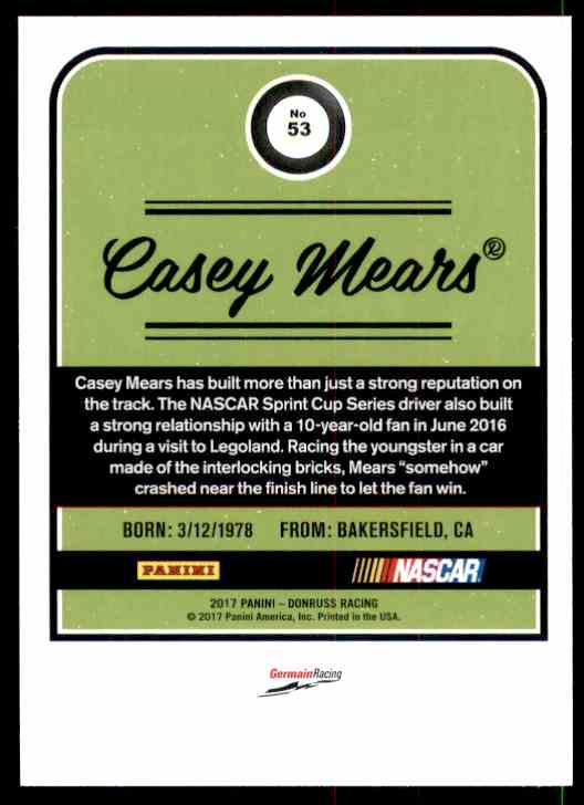 2017 Donruss Casey Mears #53 card back image