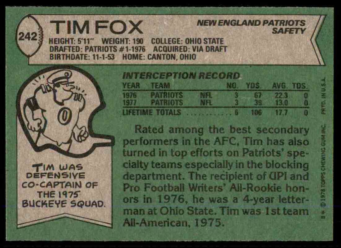 1978 Topps Football Tim Fox #242 card back image