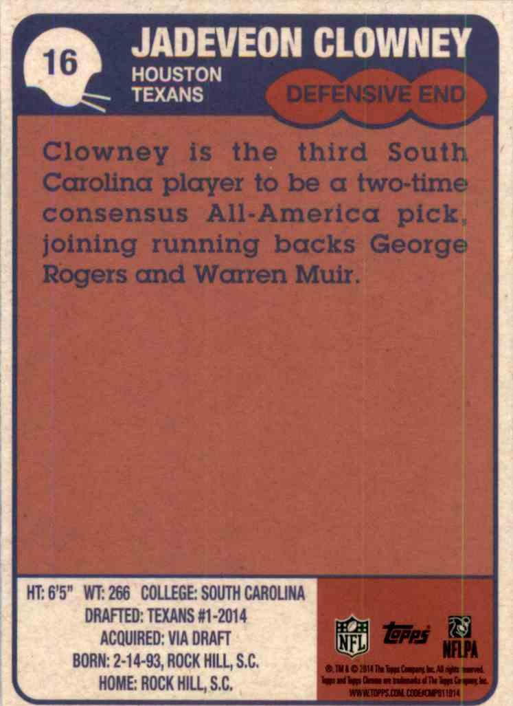 2014 Topps Chrome 1985 Jadeveon Clowney #16 card back image