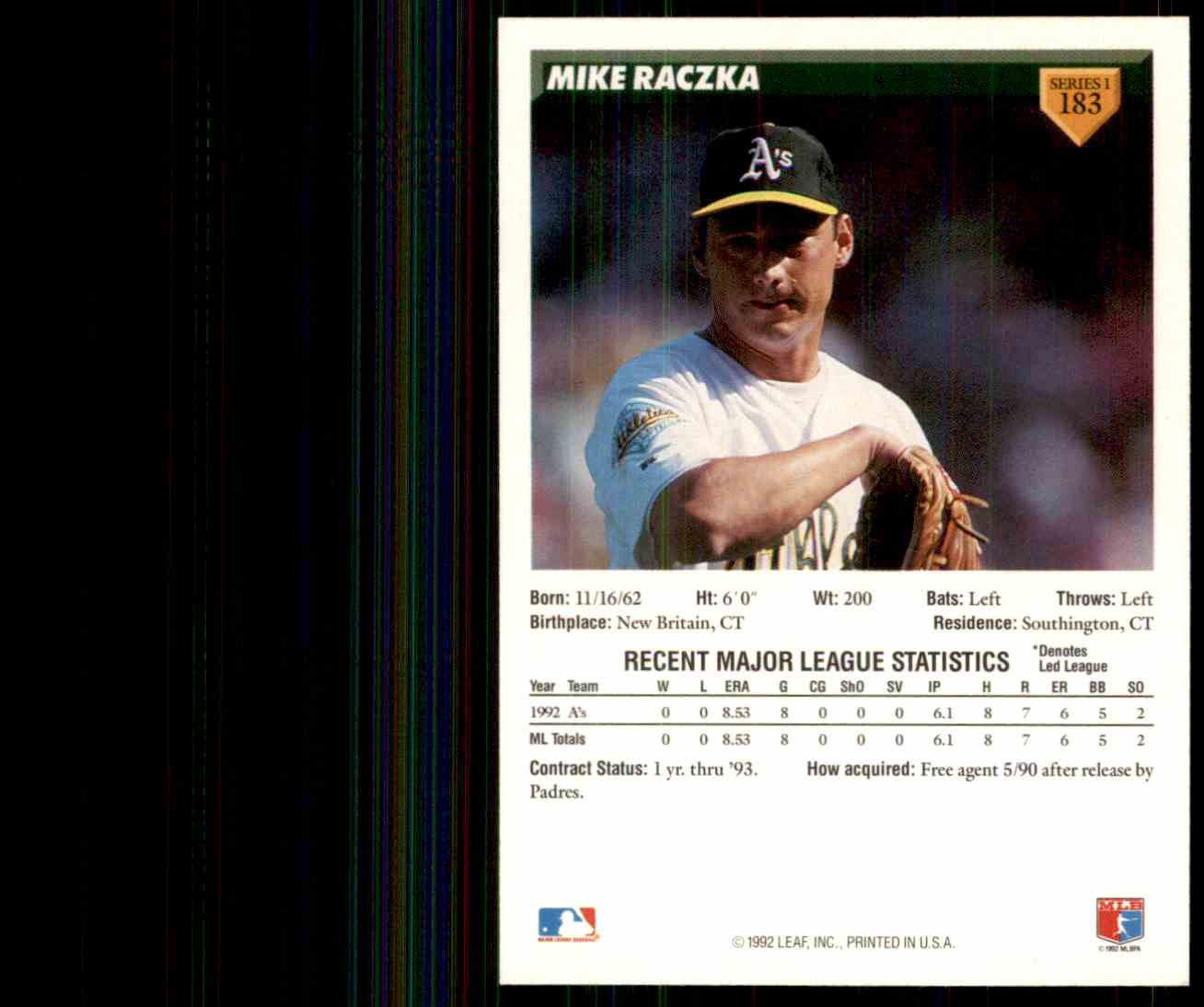1993 Donruss Mike Raczka #183 card back image