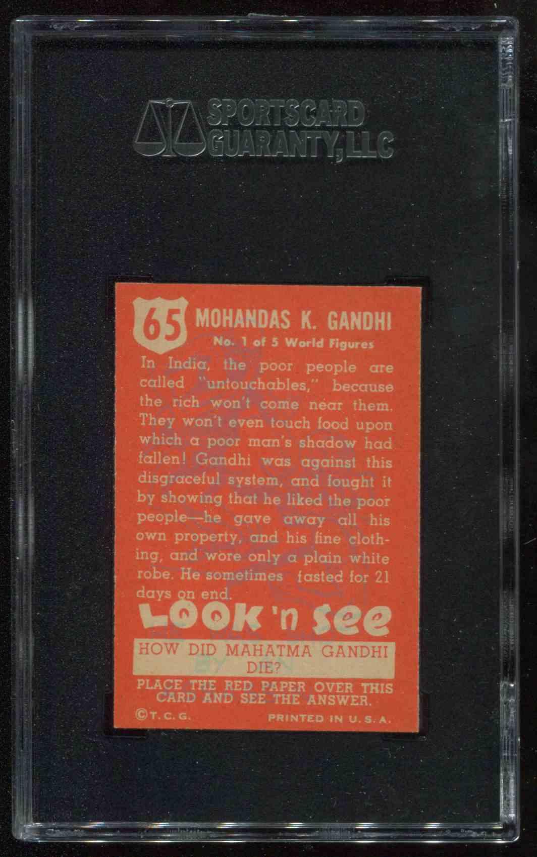 1952 Topps Look 'N See Mahatma Gandhi #65 card back image