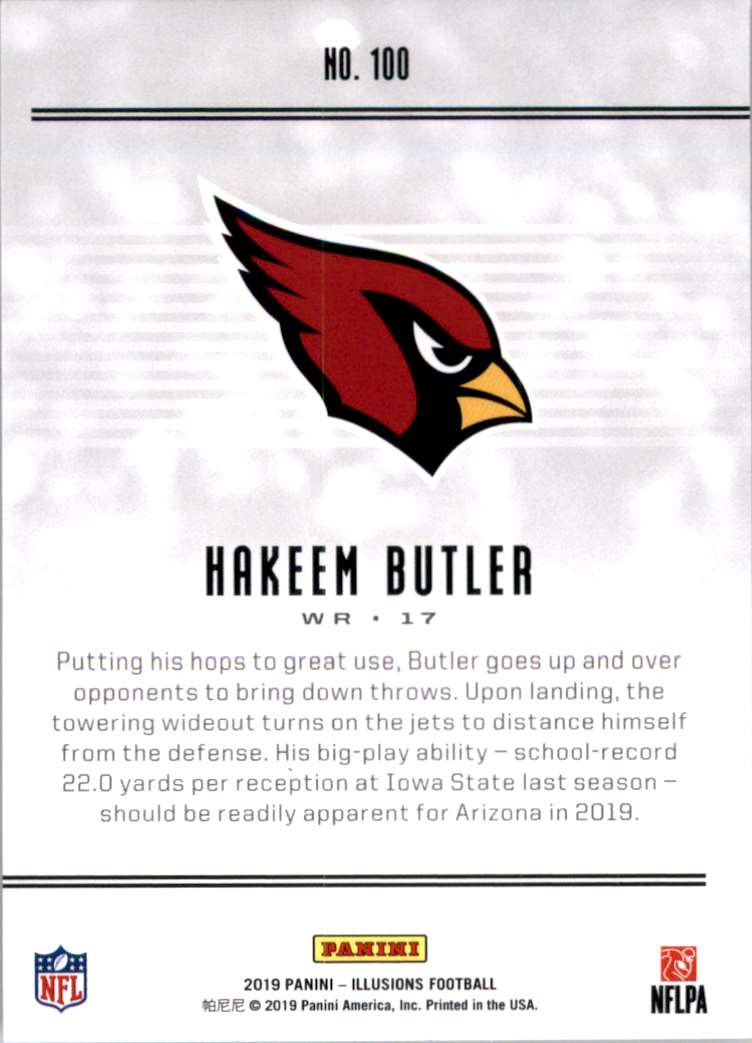 2019 Panini Illusions Retail Hakeem Butler RC #100 card back image