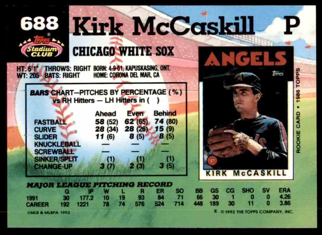 1992 Stadium Club Kirk McCaskill #688 card back image