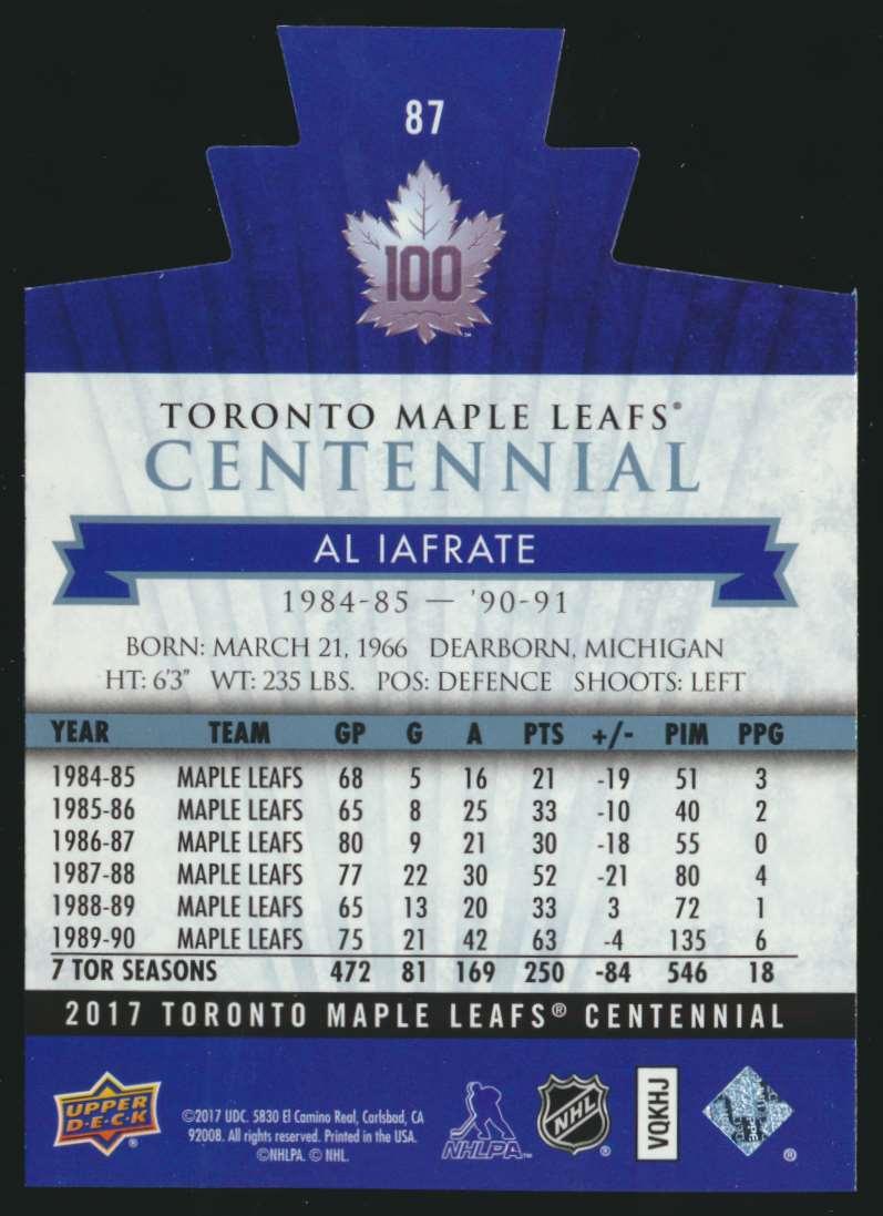 2017-18 UD Maple Leafs Centennial Die Cut Al Iafrate #87 card back image