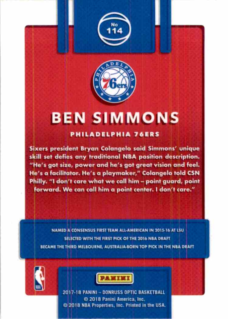 2017-18 Donruss Optic Ben Simmons #114 card back image