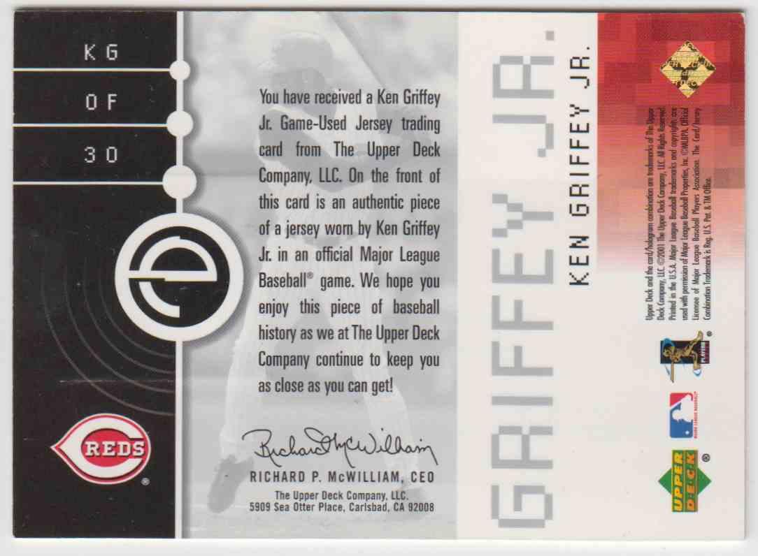 2001 Upper Deck Evolve Game Jersey Ken Griffey JR. #30 card back image