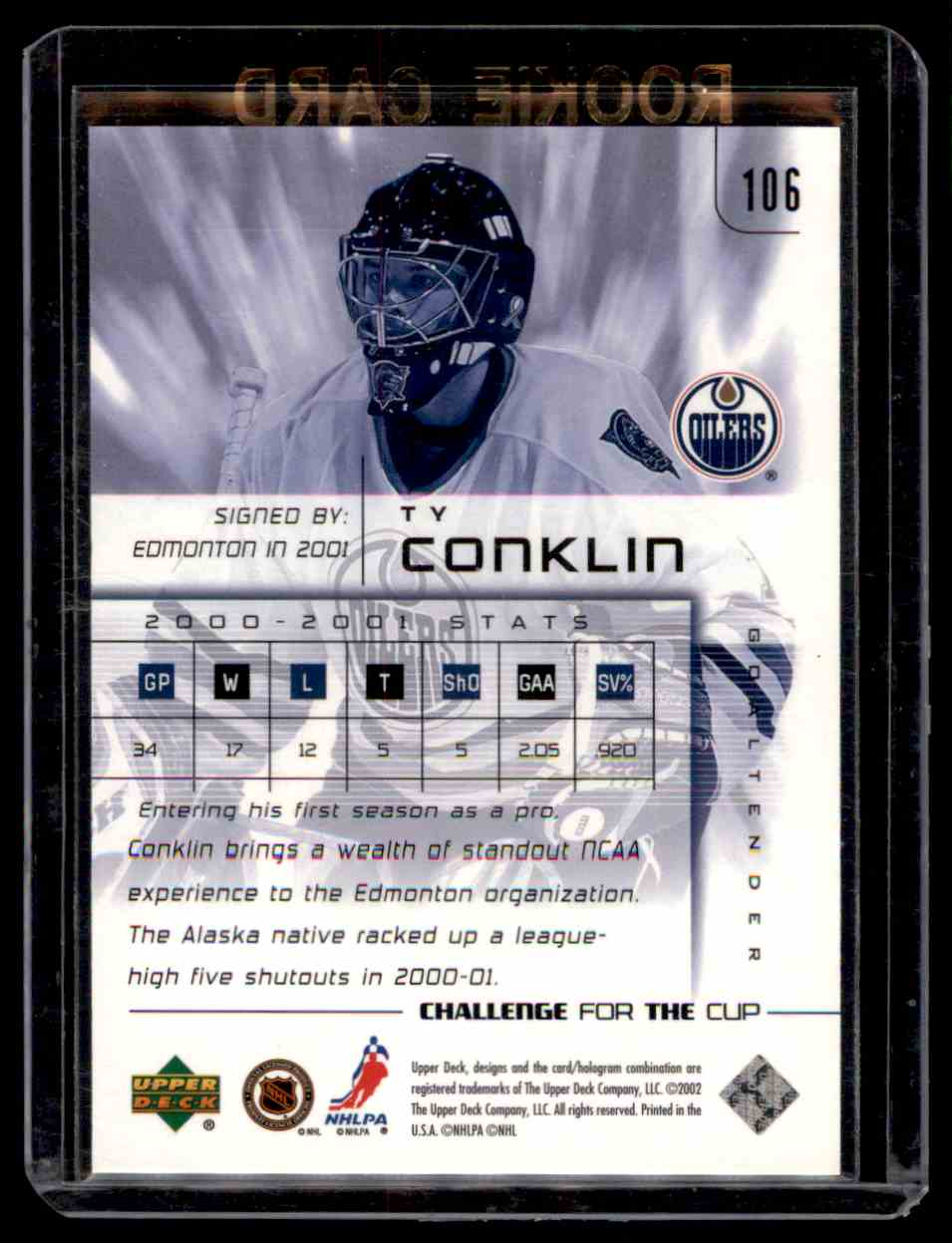 2001-02 Upper Deck Challenge For The Cup Ty Conklin #106 card back image