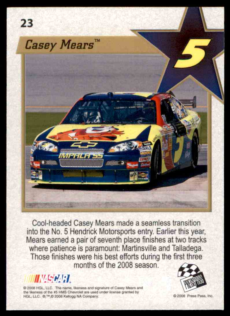 2008 Press Pass Vip Casey Mears #23 card back image