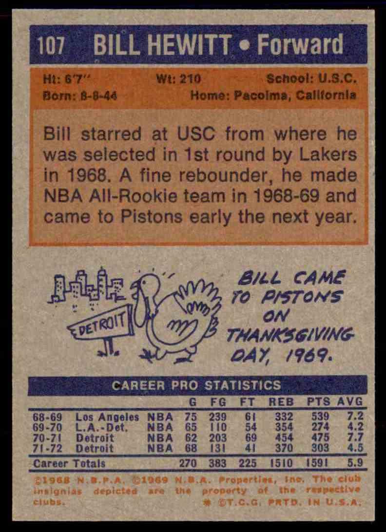 1972-73 Topps Bill Hewitt #107 card back image