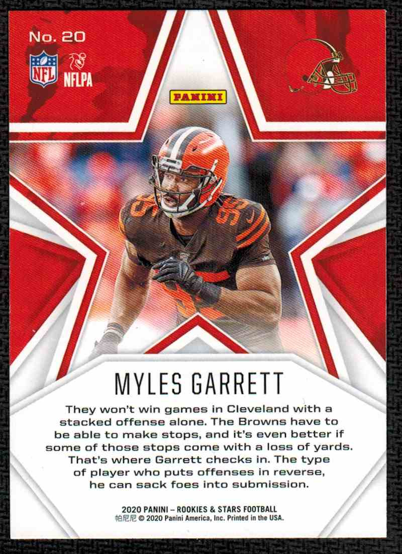 2020 Panini Rookies & Stars Myles Garrett #20 card back image