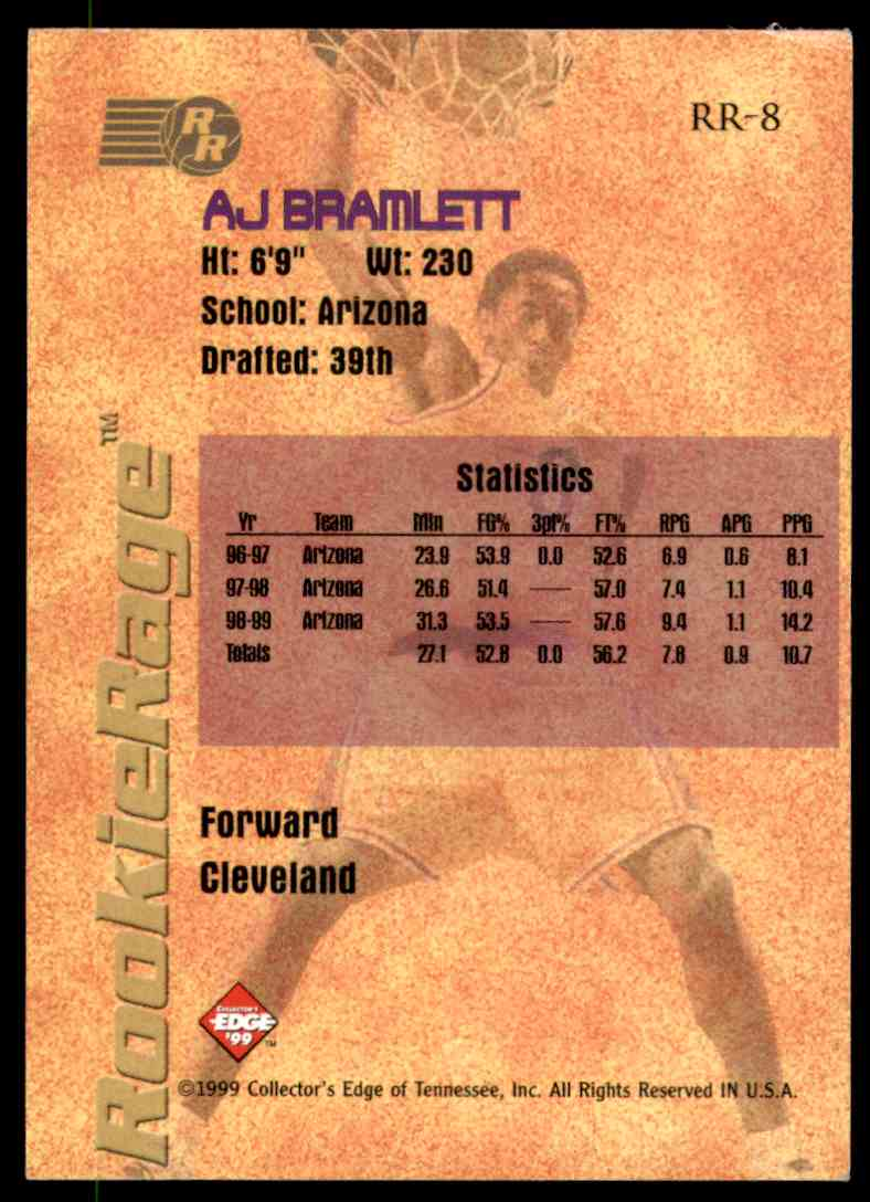 1999-00 Collector's Edge Rookie Rage Pro Signatures A.J. Bramlett #RR8 card back image