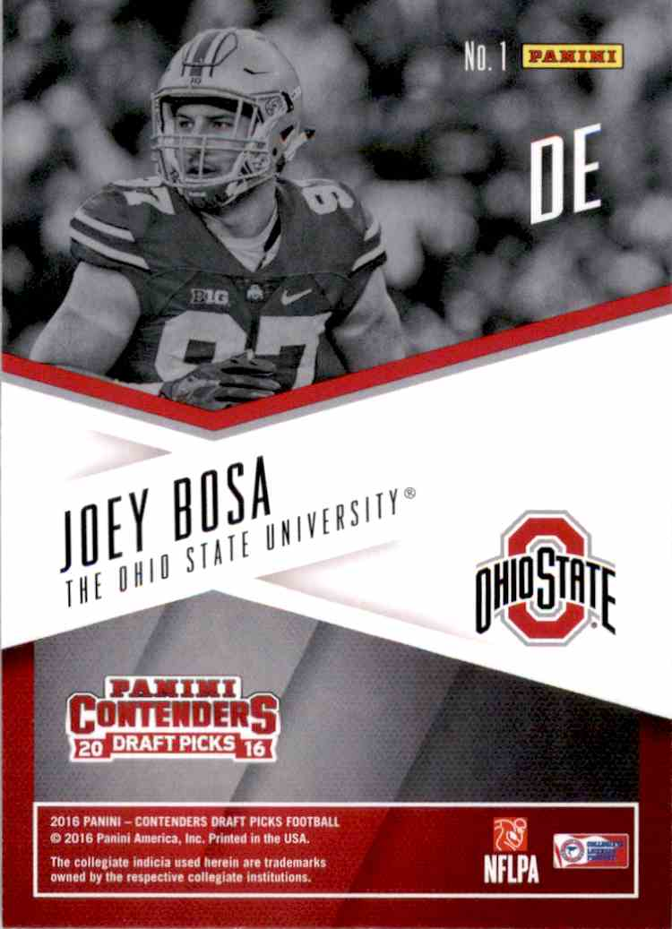 2016 Panini Contenders Draft Picks School Colors Joey Bosa #1 card back image