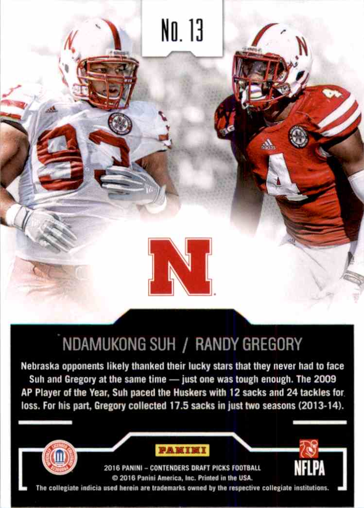 2016 Panini Contenders Draft Picks Collegiate Connections Ndamukong Suh , Randy Gregory #13 card back image