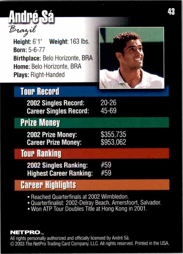 2003 NetPro Andre Sa RC #43 card back image