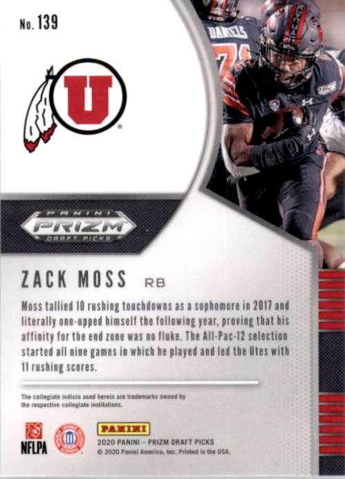 2020 Panini Prizm Draft Picks Zack Moss RC #139 card back image