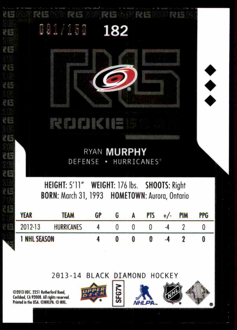 2013-14 Black Diamond Triple Diamond Ruby Ryan Murphy #182 card back image