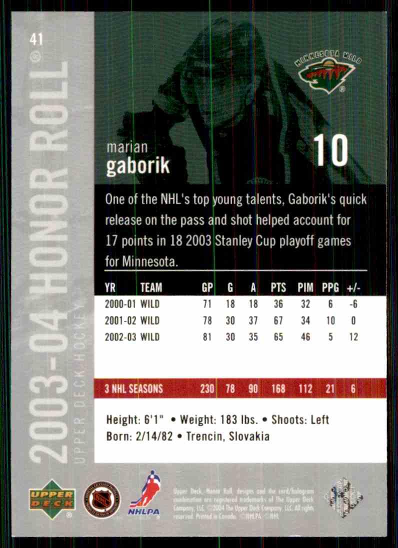 2003-04 Upper Deck Honor Roll Marian Gaborik #10 card back image