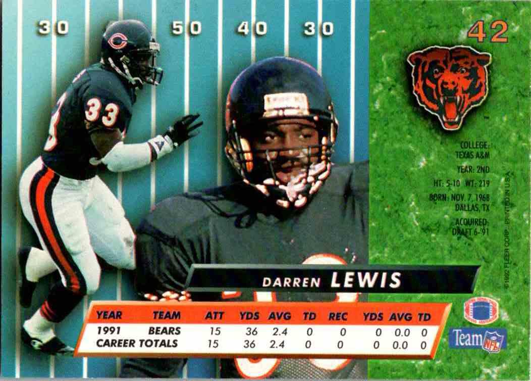 1992 Fleer Ultra Darren Lewis #42 card back image