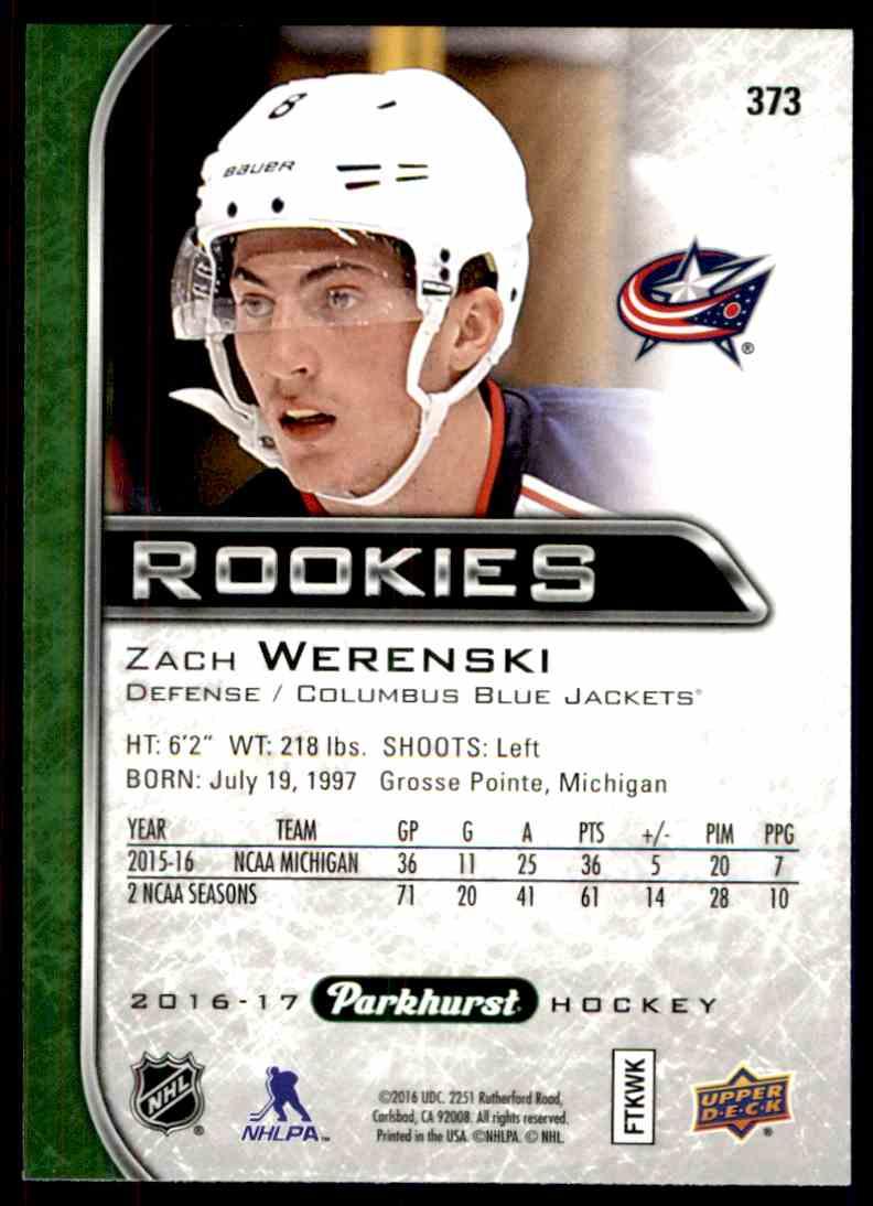 2016-17 Parkhurst Rookies Zach Werenski #373 card back image