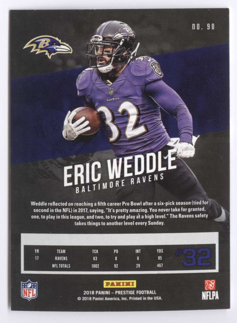 2018 Panini Prestige Eric Weddle #90 card back image