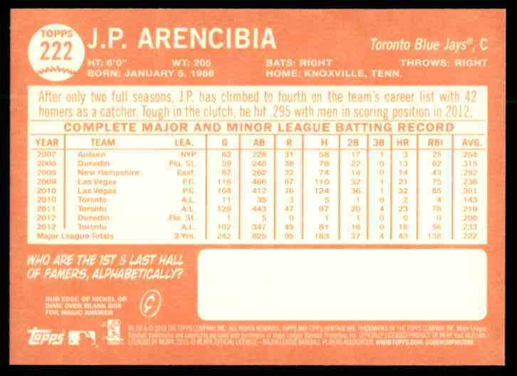 2013 Topps Heritage J.P. Arencibia #222 card back image
