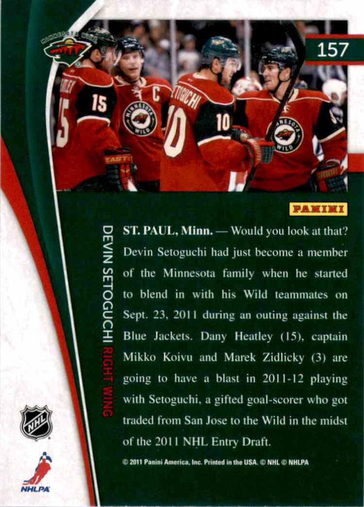 2011-12 Pinnacle Devin Setoguchi #157 card back image