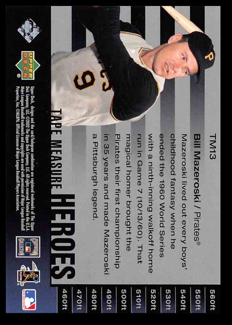 2002 Ud Upper Deck Piece Of History Bill Mazeroski Baseball