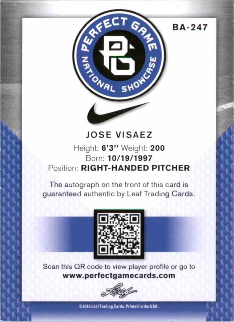 2016 Leaf Perfect Game Black Jose Visaez #BA-247 card back image