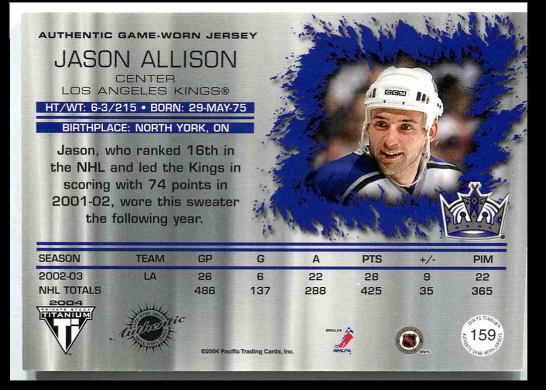 2003-04 Titanium Jsy Jason Allison #159 card back image