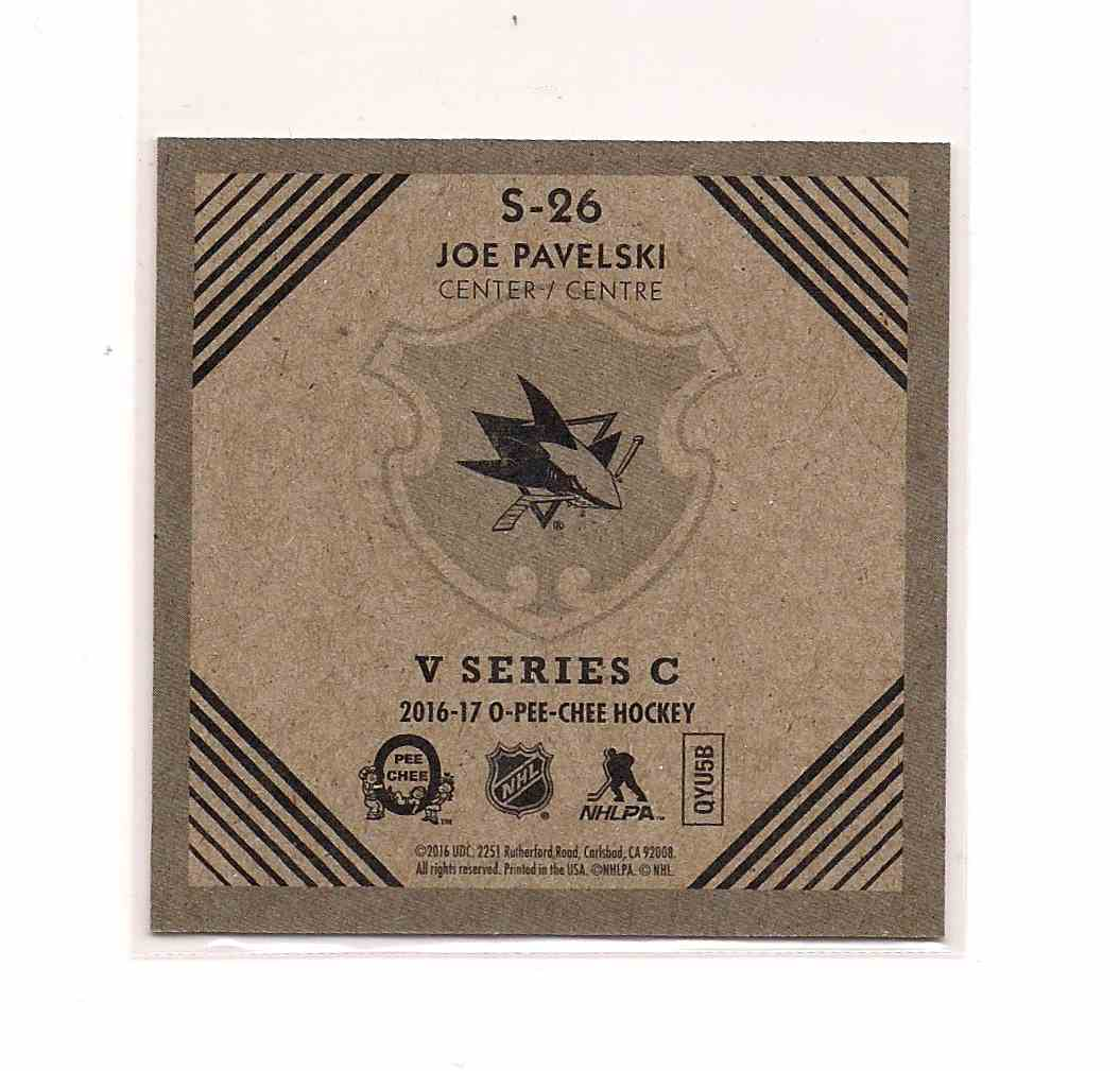2016-17 O-Pee-Chee V Series C Joe Pavelski #S-26 card back image