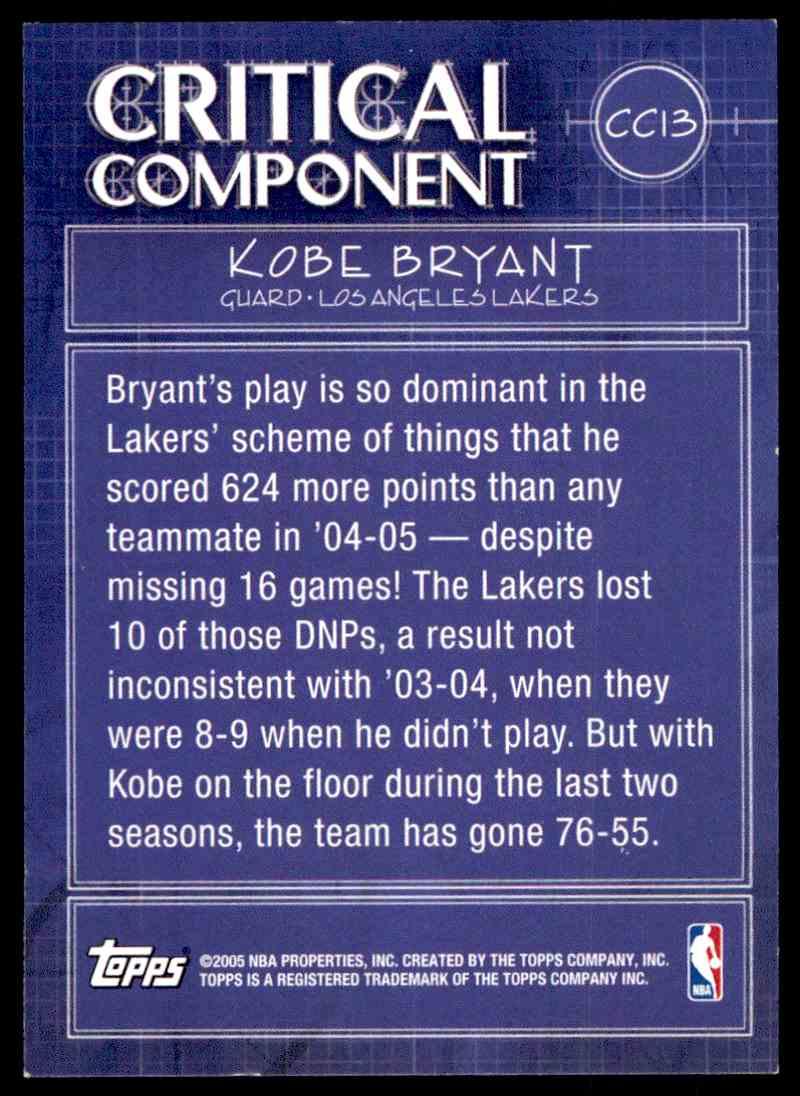2005-06 Topps Kobe Bryant #13 card front image