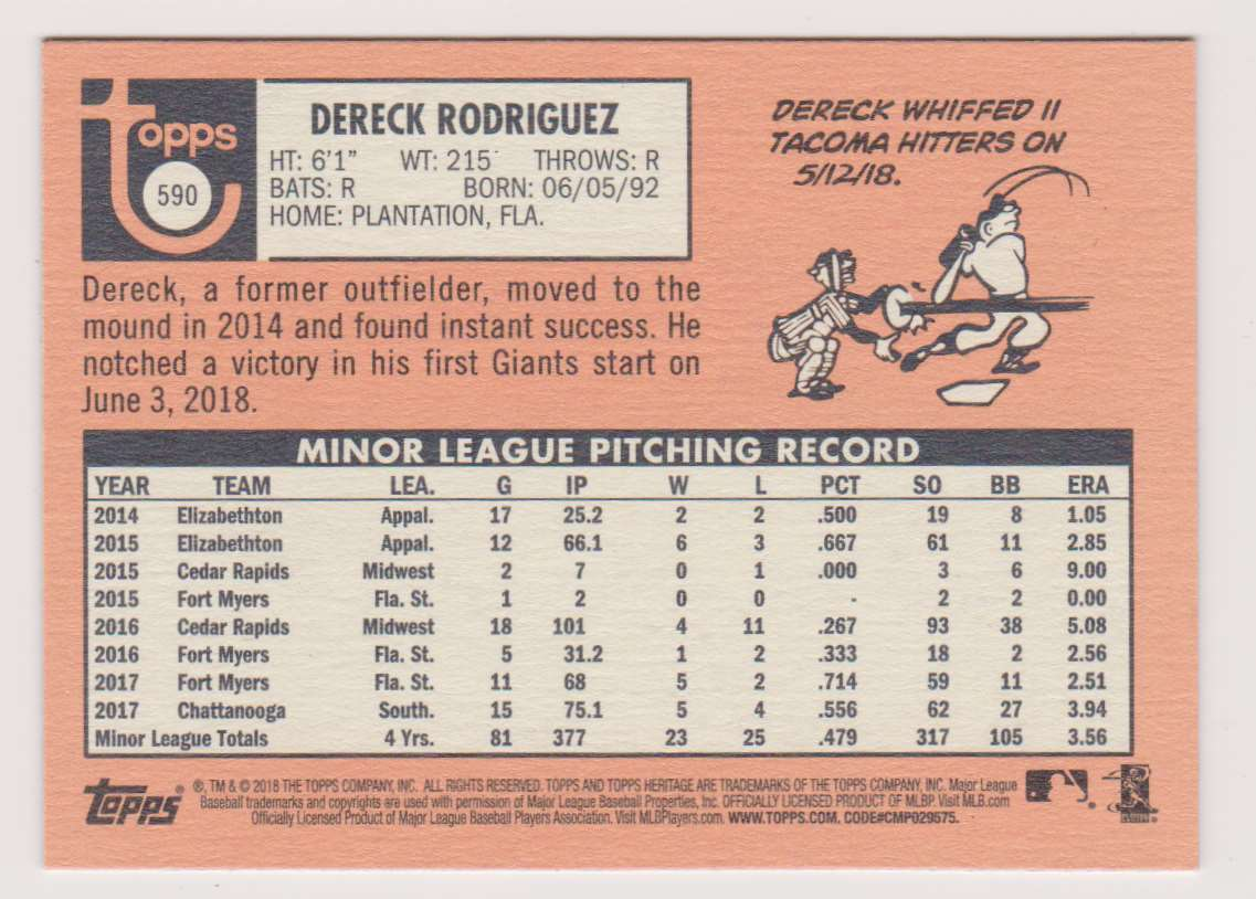 2018 Topps Heritage Dereck Rodriguez #590 card back image