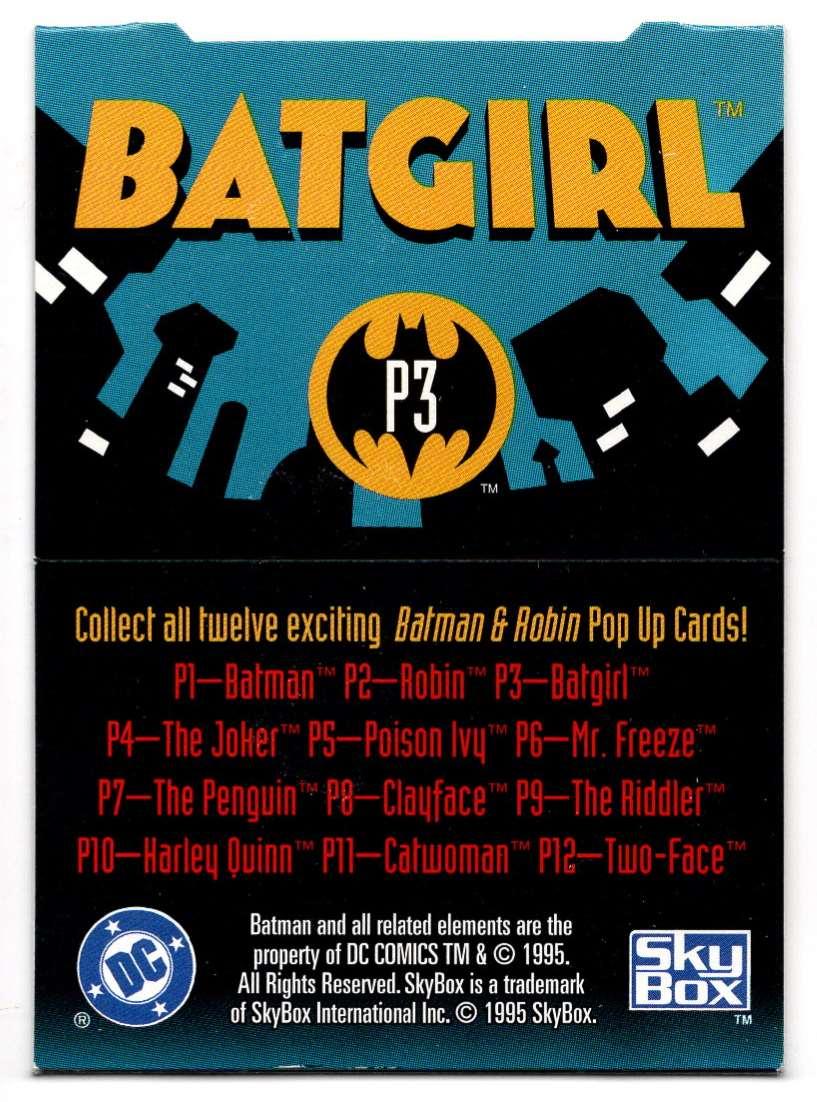 1995 Skybox Adventures Of Batman And Robin Pop Up Card Batgirl #3 card back image