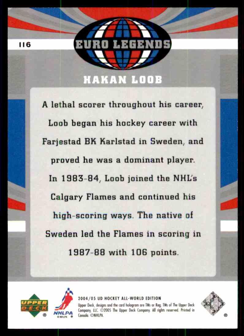 2004-05 Upper Deck All World Hakan Loob #116 card back image