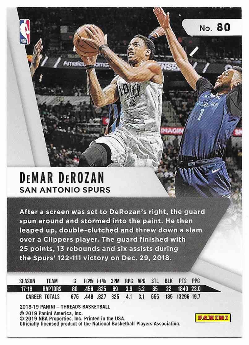 2018-19 Panini Threads DeMar DeRozan #80 card back image