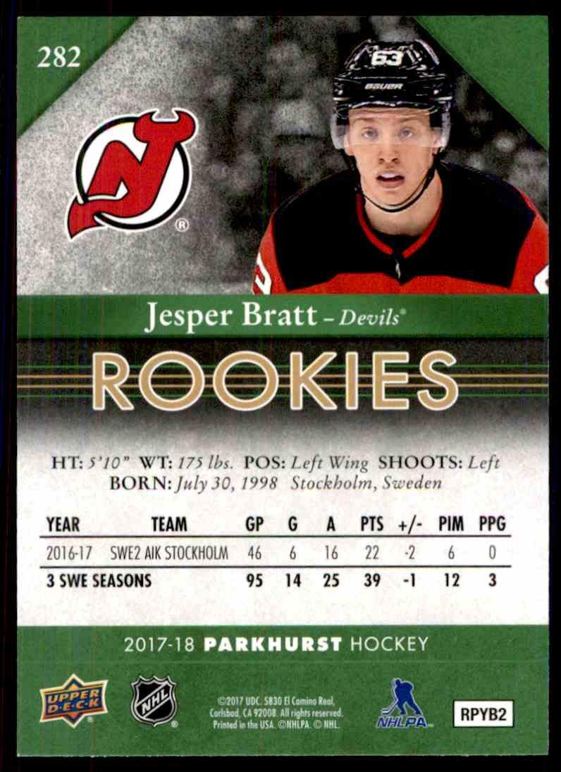 2017-18 Parkhurst Rookies Jesper Bratt #282 card back image