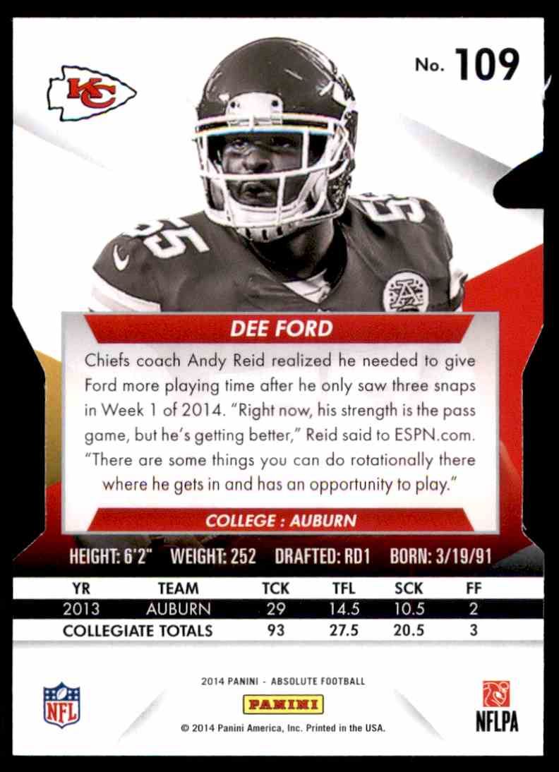 2014 Absolute Retail Dee Ford RC #109 card back image
