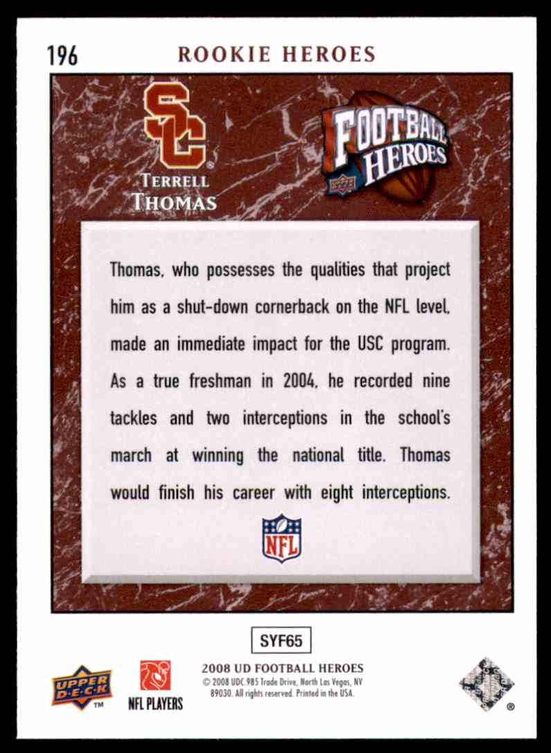 2008 Upper Deck Heroes Terrell Thomas RC #196 card back image