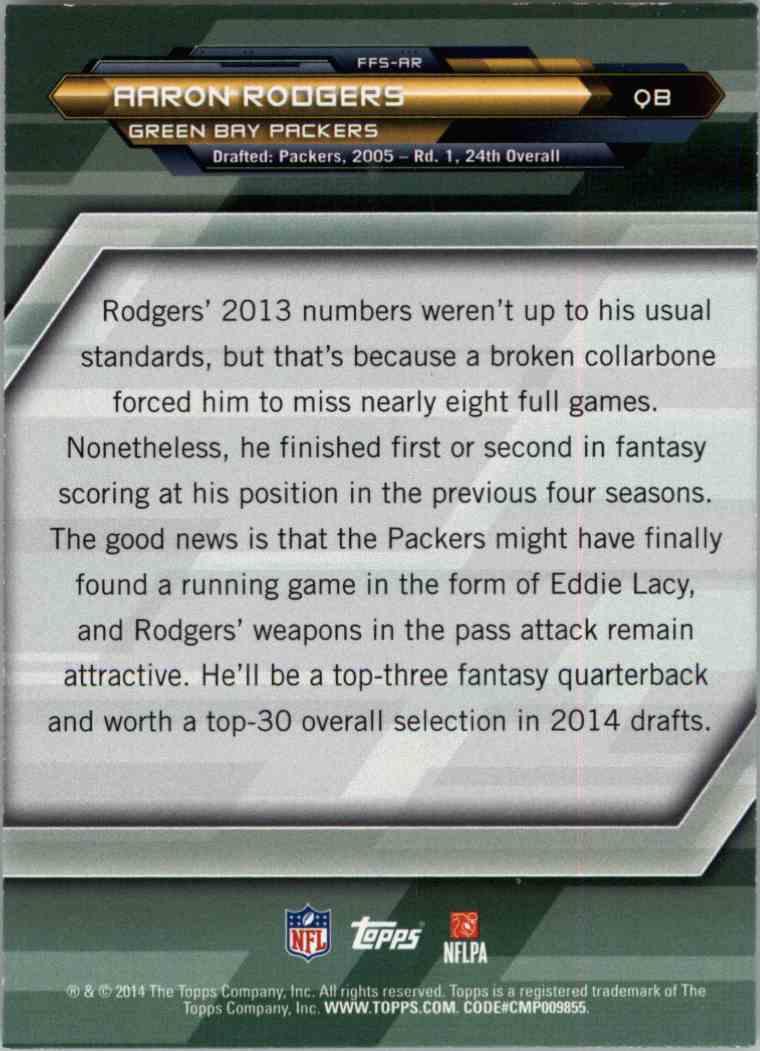 2014 Topps Aaron Rodgers #FFSAR card back image