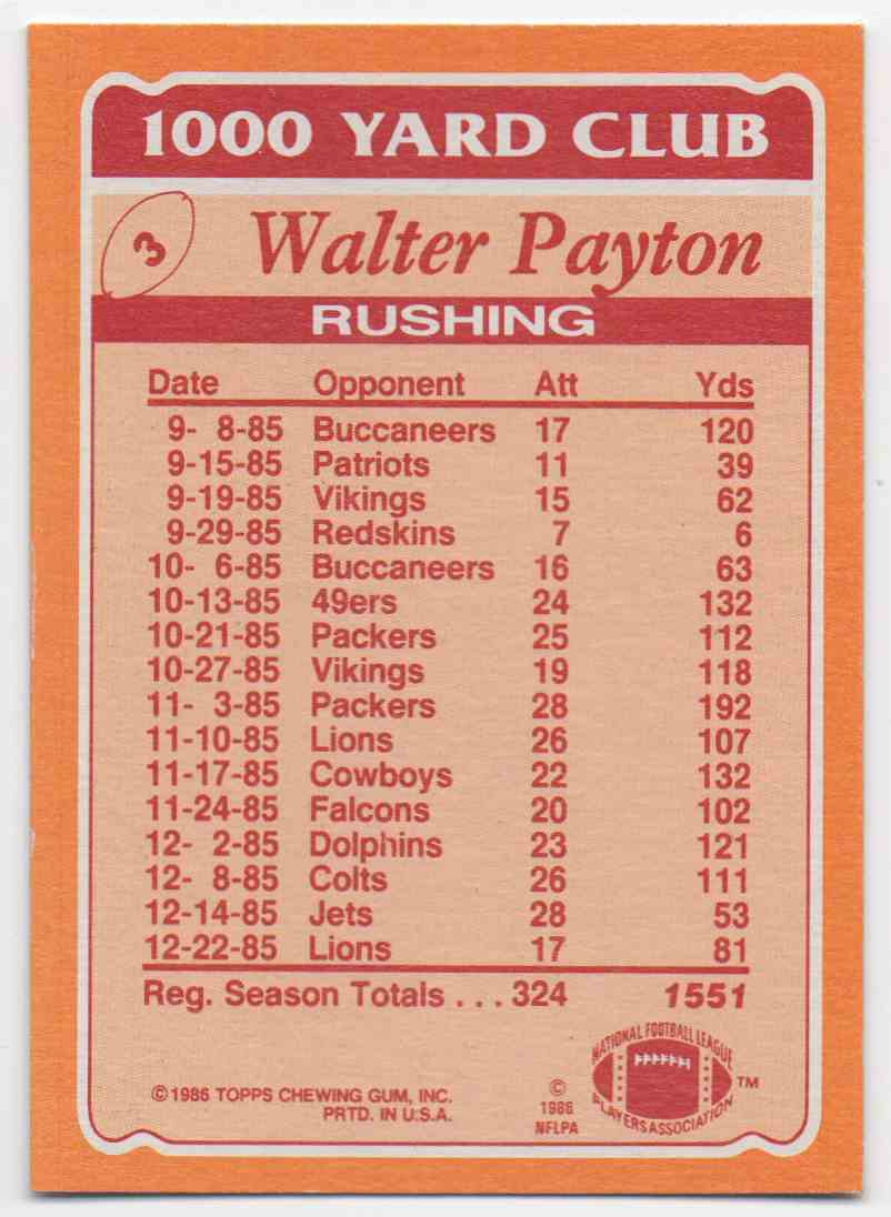 1986 Topps 1000 Yard Club Walter Payton #3 card back image