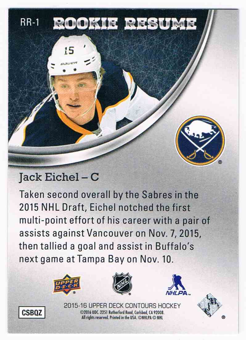 2015-16 Upper Deck Contours Rookie Resume Gold Rainbow Jack Eichel #RR-1 card back image