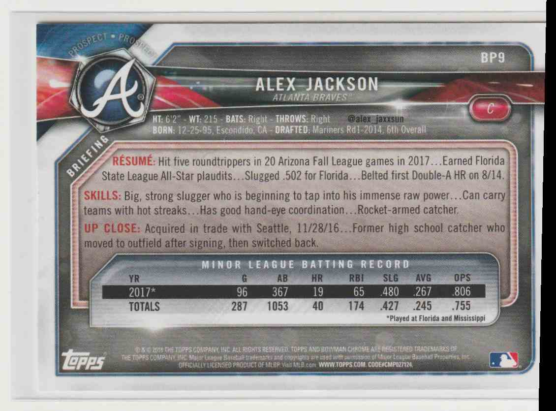2018 Topps Bowman Alex Jackson #BP9 card back image