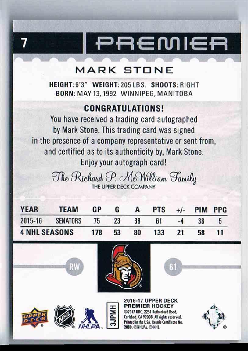 2016-17 Upper Deck Premier Silver Spectrum Autopgraph Mark Stone #7 card back image