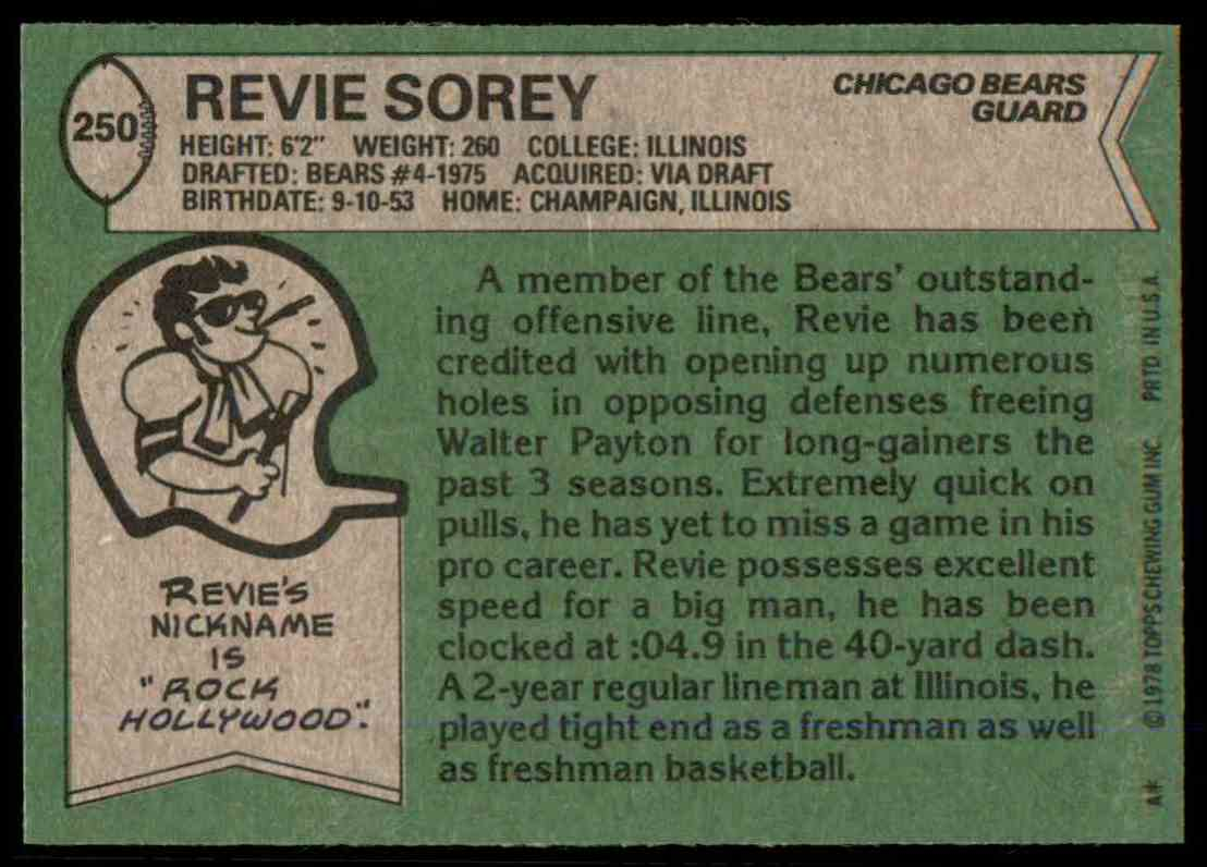 1978 Topps Football Revie Sorey #250 card back image