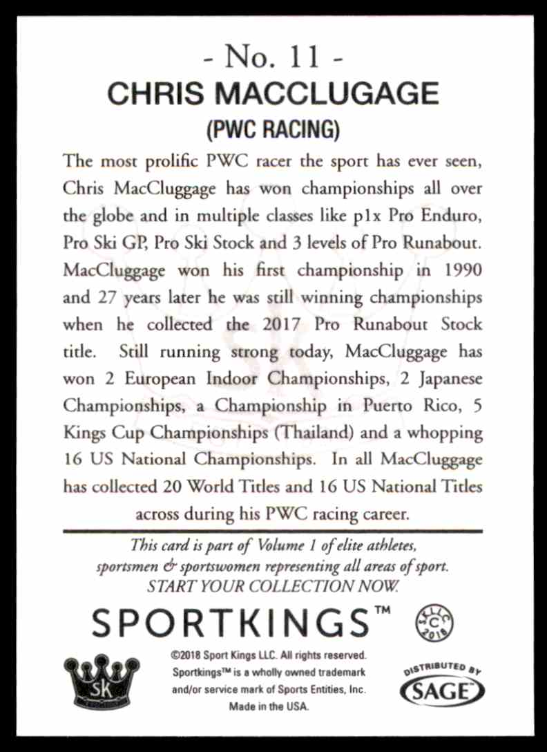2018 Sportkings Black Back Retail Chris Macclugage #11 card back image