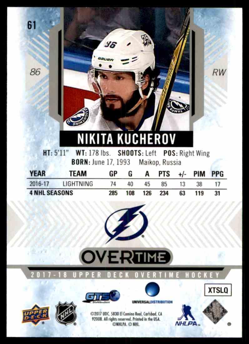 2017-18 Upper Deck Overtime Nikita Kucherov #61 card back image