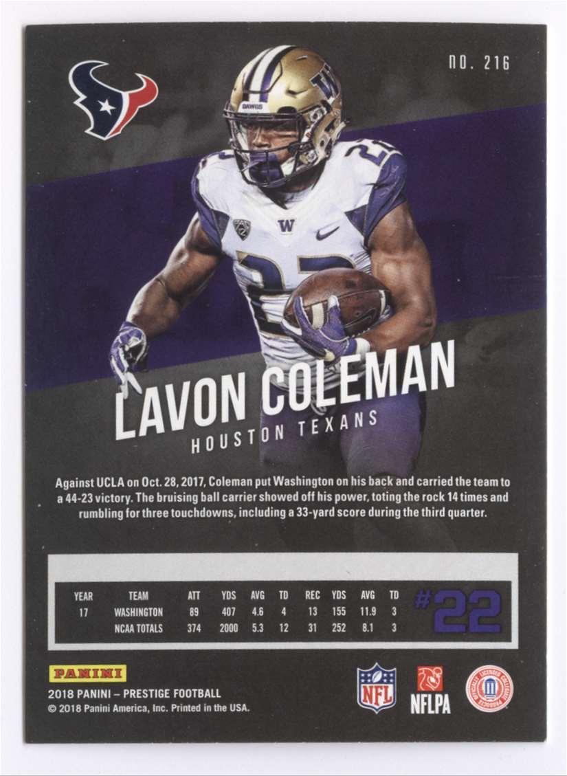 2018 Panini Prestige Lavon Coleman #216 card back image