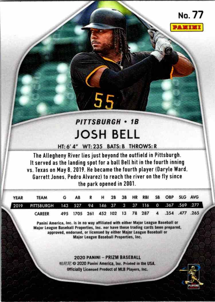 2020 Panini Prizm MLB Josh Bell #77 card back image