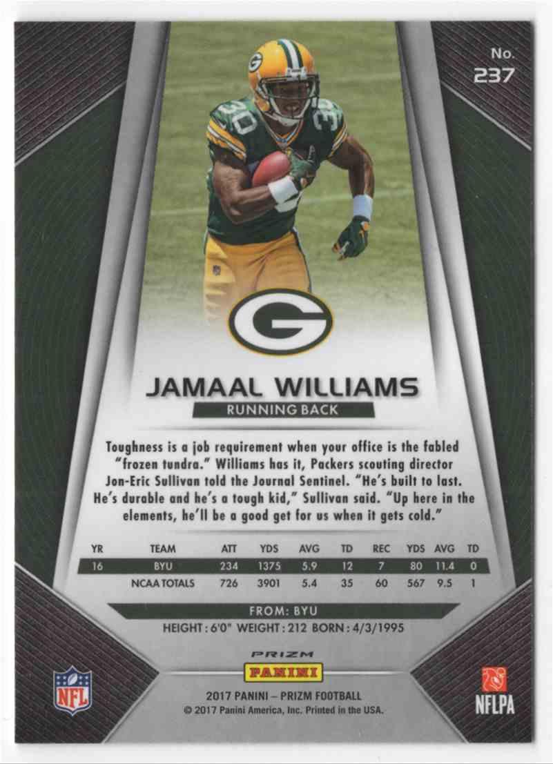 2017 Panini Prizm Jamaal Williams #237 card back image